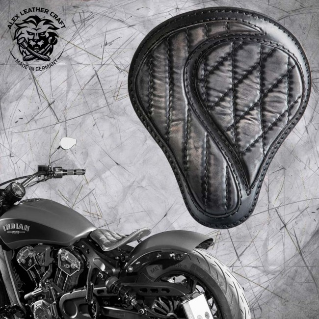 "Bobber Solo Seat for Indian Scout since 2017 ""Standard"" No-compromise Vintage Black"