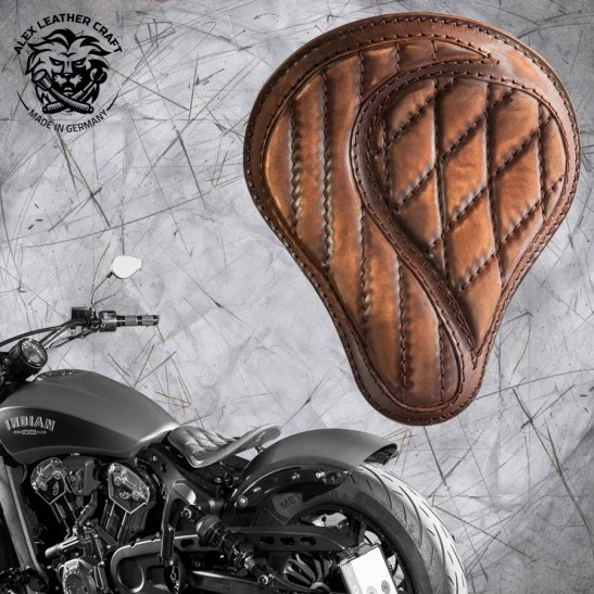 "Bobber Solo Seat for Indian Scout since 2017 ""Standard"" No-compromise Vintage Brown"