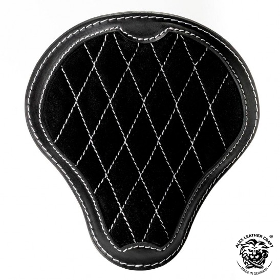 "Universal Bobber Seat ""Gloss and Velvet"" Black and White V3 L, model A (Warehouse Sale)"