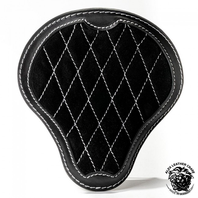 "Universal Bobber Seat ""Gloss and Velvet"" Black and White V3 S, model B (Warehouse Sale)"
