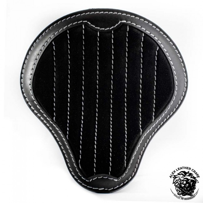 "Universal Bobber Seat ""Gloss and Velvet"" Black and White V2 L, model A (Warehouse Sale)"
