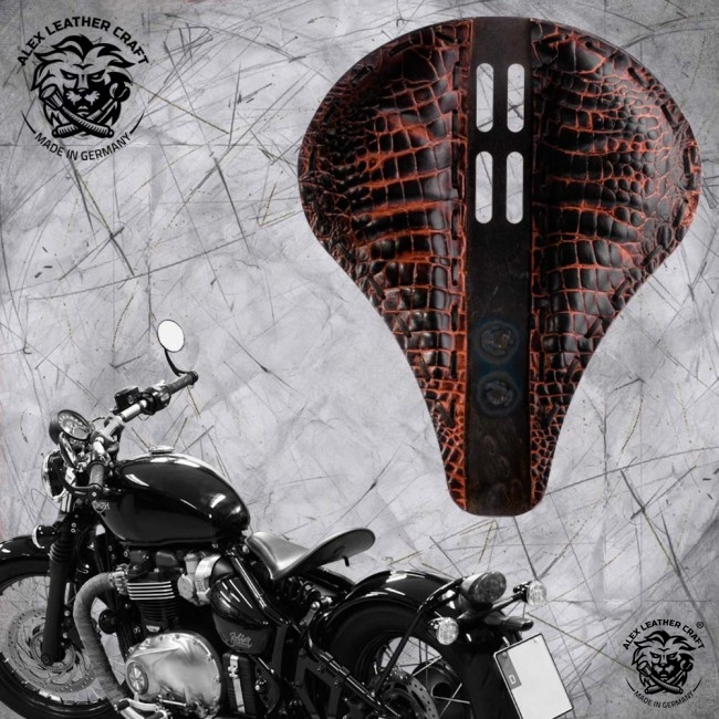 "Triumph Bonneville Bobber Selle de 2016 ""Long"" 4Quatrième Alligator Saddle Tan L (Outlet)"