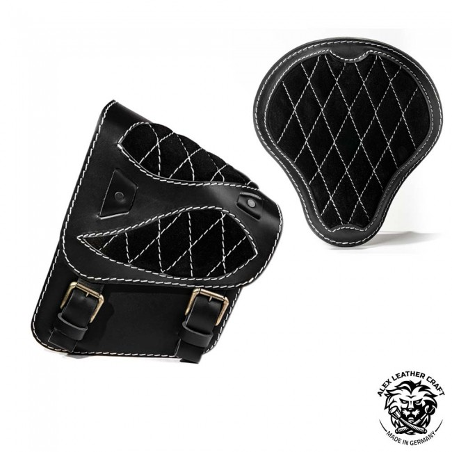 "Seat + Saddlebag for HD Softail ""Spider"" Diamond Gloss and Velvet Black and White"