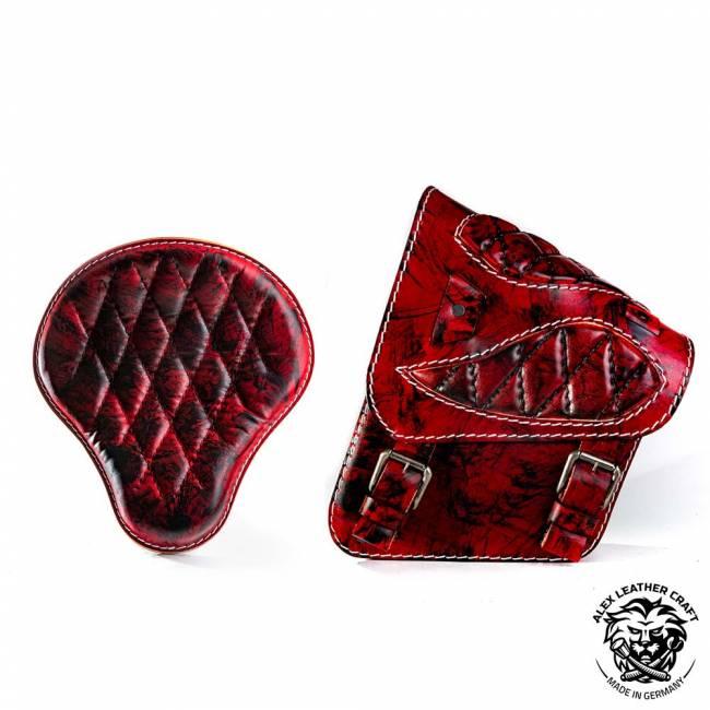 Sitz + Satteltasche für HD Softail Rot und Schwarz Rautenmuster