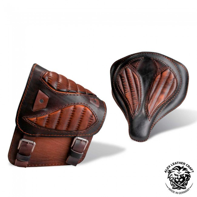 "Seat + Saddlebag for HD Softail ""Spider"" Diamond Black and Brown V2"